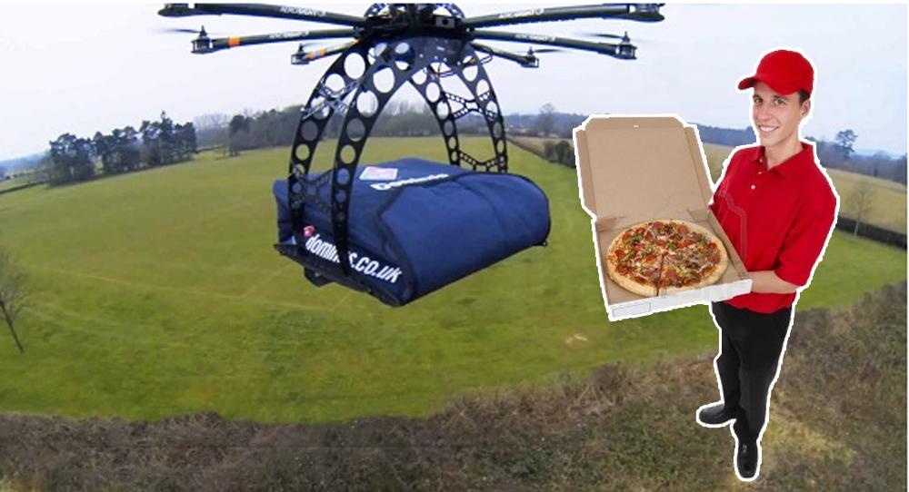 Drone che consegna la pizza